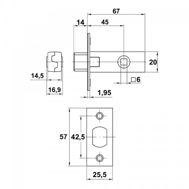 DEADBOLT DOOR LOCK 45 / SPLINDLE 6x6